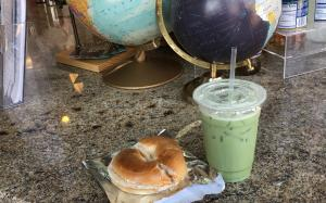 Matcha latte and bagel from True North