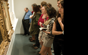 Students and visitors explore the Smart Museum of Art in Hyde Park.